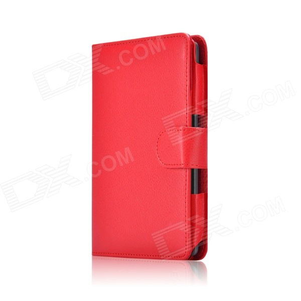 Business Style Protective PU Leather Flip Open Case for 6'' Amazon Kindle Voyage - Red