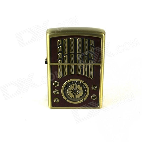 Compass Pattern Retro Style Kerosene Lighter - Bronze + Brown