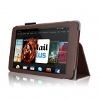 Protective PU Leather Flip Open Case w/ Stand for 7'' Amazon Kindle Fire HD 7 - Brown