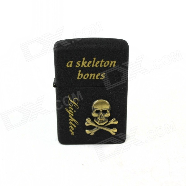 Skull & Bones Pattern Retro Style Oil Lighter - Bronze + Black