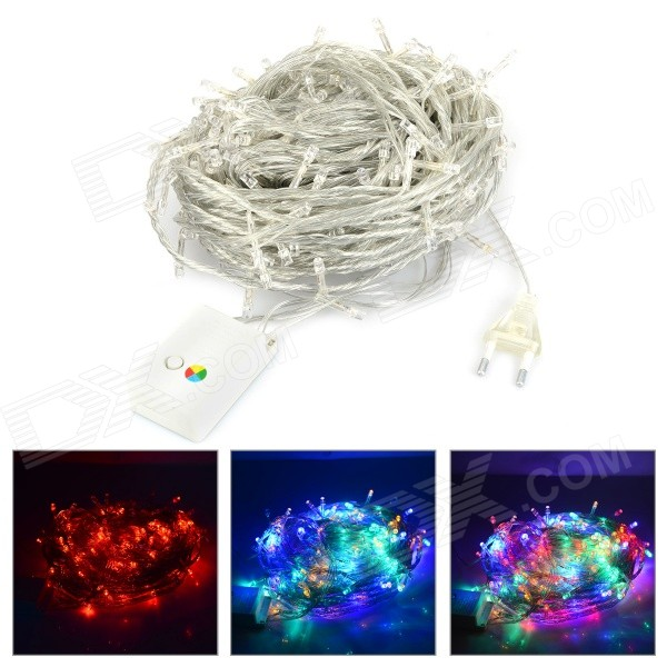 30W 850lm 300-LED RGB 8-Mode Christmas Tree Light String - White + Transparent (30M / AC 220~240V)
