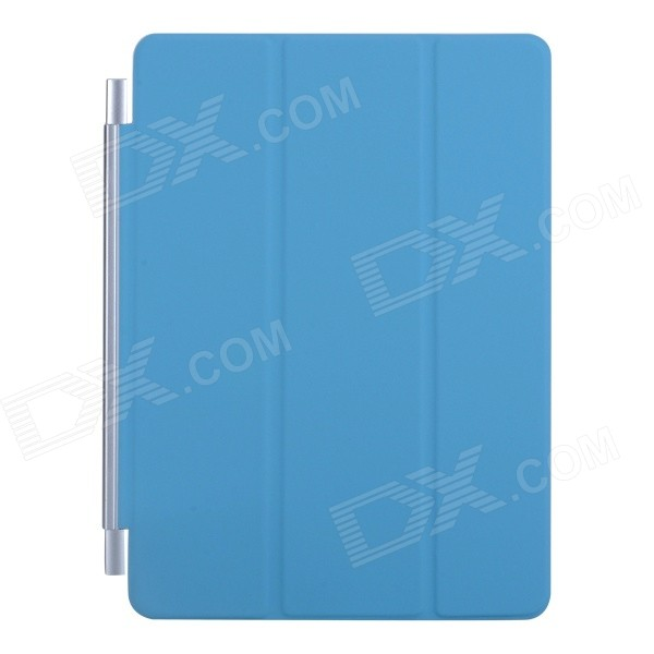 Ultra-thin Protective PU + Plastic Cover w/ Auto Sleep Function for IPAD AIR - Blue