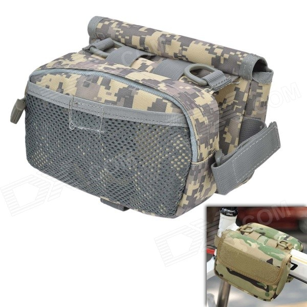 Фото D28 600D Nylon Water-resistant Bike Bicycle Top Tube Saddle Bag - Camouflage mymei outdoor 90db ring alarm loud horn aluminum bicycle bike safety handlebar bell