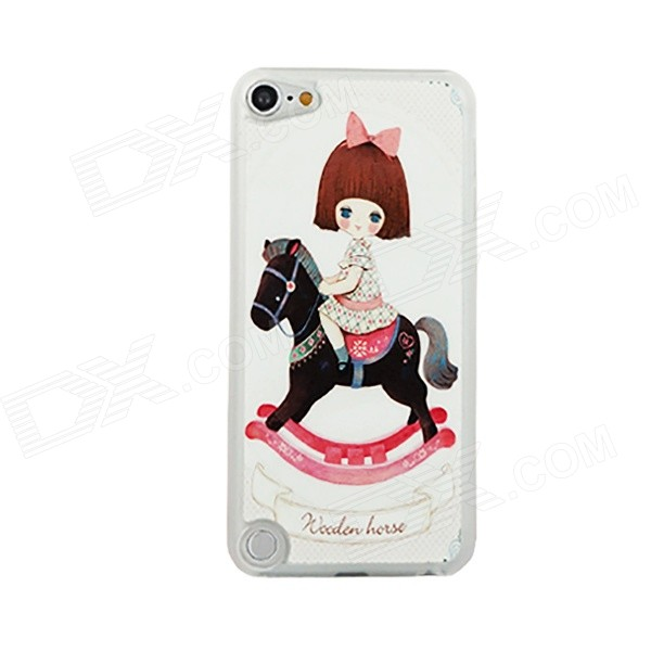 Girl On Carousel Pattern Ultra-thin Protective PC Back Case for IPOD TOUCH 5 - Black + White + Pink