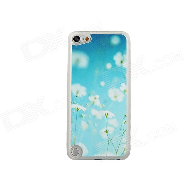 Sweet Flower Pattern Thin Plastic Back Cover Case for IPOD TOUCH 5 - White + Blue