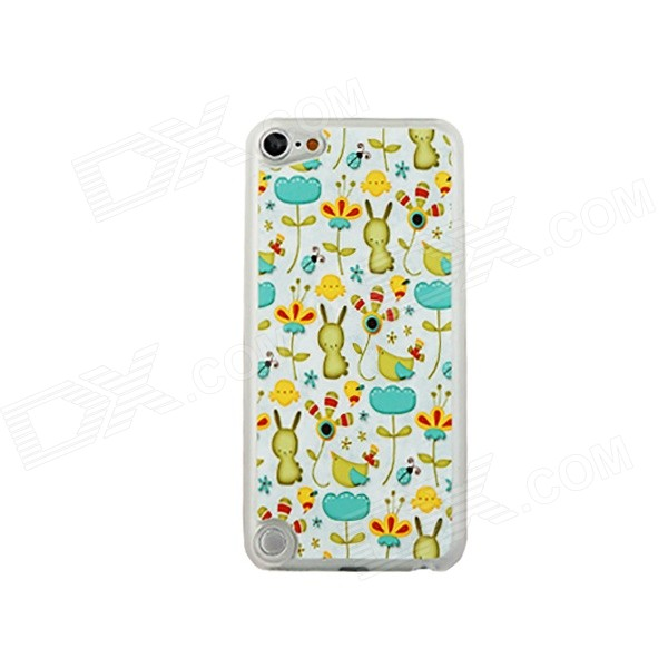 Rabbits in Flowers Pattern Ultra-thin Protective PC Back Case for IPOD TOUCH 5 - White + Multicolor