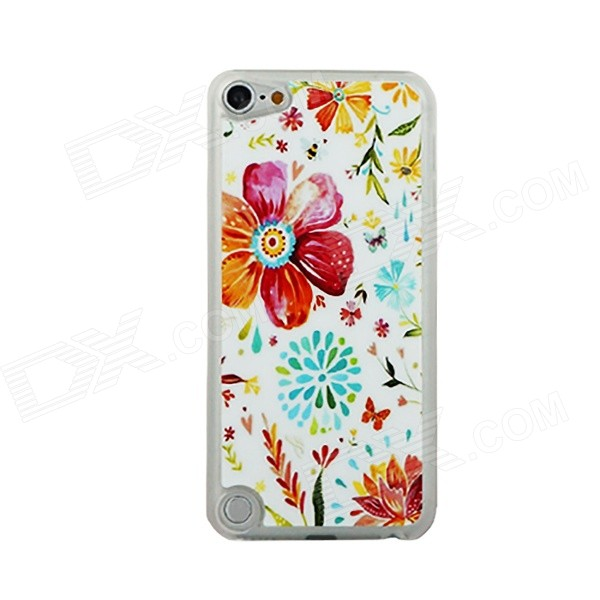 Floral Pattern Thin PC Back Cover Case for IPOD TOUCH 5 - White + Blue + Multicolored