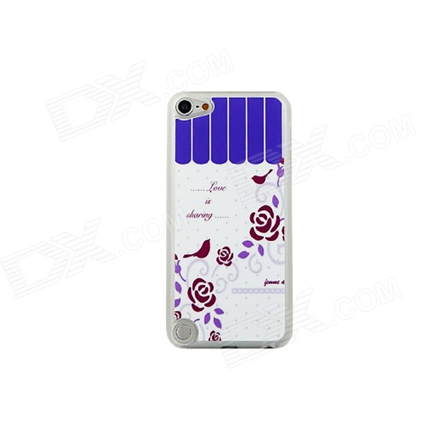 Roses + Birds Pattern Ultra-thin Protective PC Back Case for IPOD TOUCH 5 - White + Purple for ipod touch 6 5 black friday series hard pc cover shell style h