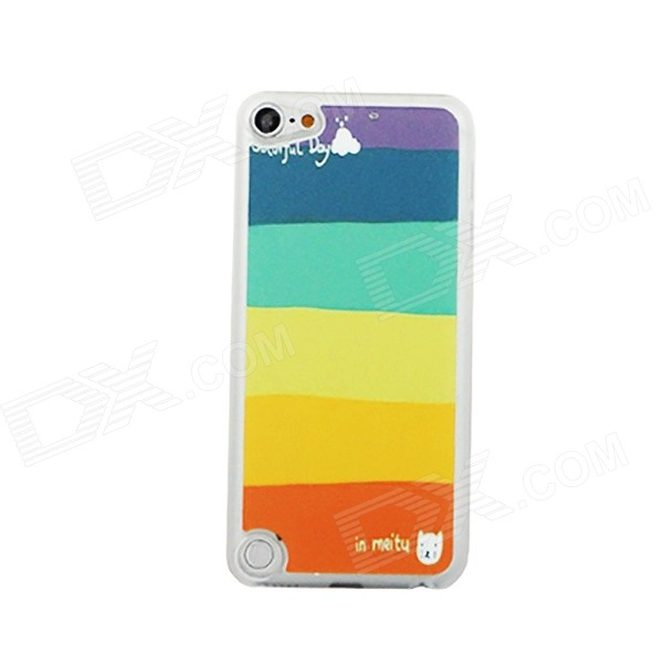 Ultra-thin Color Stripe Pattern PC Back Cover Case for IPOD TOUCH 5 - Multicolored