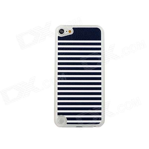 Classic Stripe Pattern Thin PC Back Case Cover for IPOD TOUCH 5 - White + Black