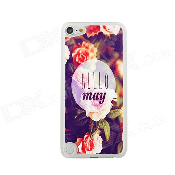 Flower Pattern Ultra Thin Protective PC Back Case for IPOD TOUCH 5 - White + Black + Multicolor