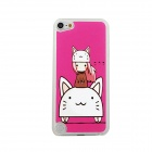 Cat + Girl Pattern Protective PC Back Case for IPOD TOUCH 5 - Deep Pink + White + Brown