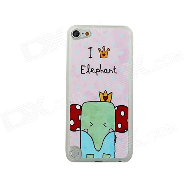 Cartoon Elephant Pattern Ultra-thin Protective PC Back Case for IPOD TOUCH 5 - Pink + Multicolored