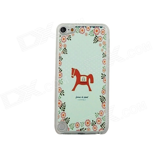 Carousel Pattern Ultra-thin Protective PC Back Case for IPOD TOUCH 5 - Green + Multicolored