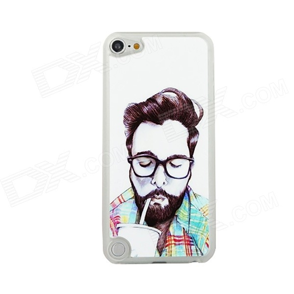 Man Drinking Cola Pattern Ultra-thin Protective PC Back Case for IPOD TOUCH 5 - White + Multicolored