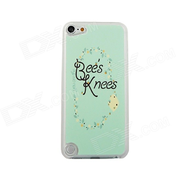 Bee's Knees Letters Pattern Ultra-thin Protective PC Back Case for IPOD TOUCH 5 - Green + Black