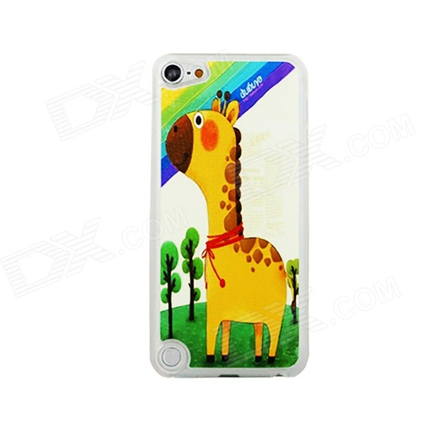 Fat Giraffe Pattern Ultra-thin Protective PC Back Case for IPOD TOUCH 5 - Yellow + Green
