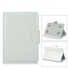 Protective Crocodile Skin Pattern PU Case w/ Stand for Samsung T110 - White