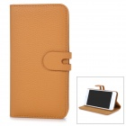 Detachable Protective Flip-Open PU Case w/ Stand + Card / Money Slot for IPHONE 6 PLUS - Brown