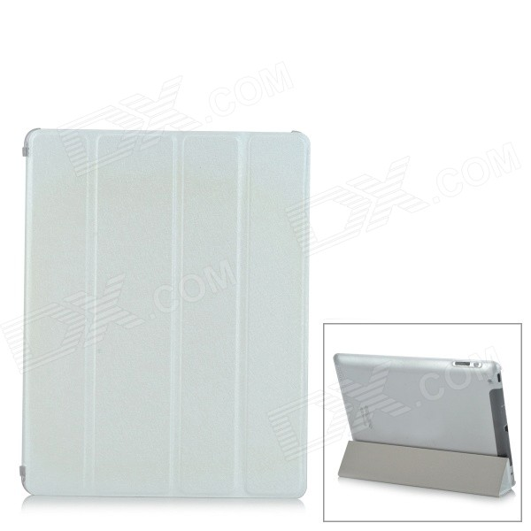 Protective 4-Folds Flip-Open PU Smart Case w/ TPU Back for IPAD 2 / 3 / 4 - White ipad 4 in 1 photo lens