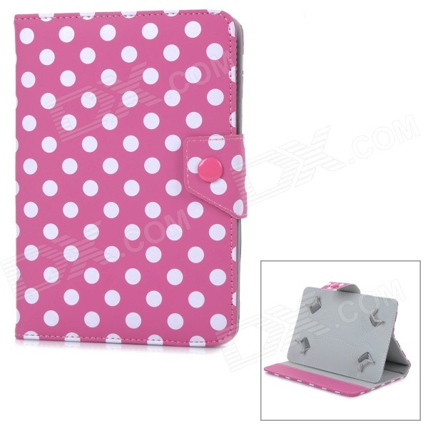 Polka Dot Pattern Protective Flip-Open PU Case w/ Stand for Samsung 7 Tablet PC - Deep Pink + White protective pu leather case for 9 7 tablet pc deep pink