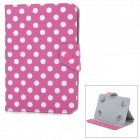 "Polka Dot Pattern Protective Flip-Open PU Case w/ Stand for Samsung 7"" Tablet PC - Deep Pink + White"
