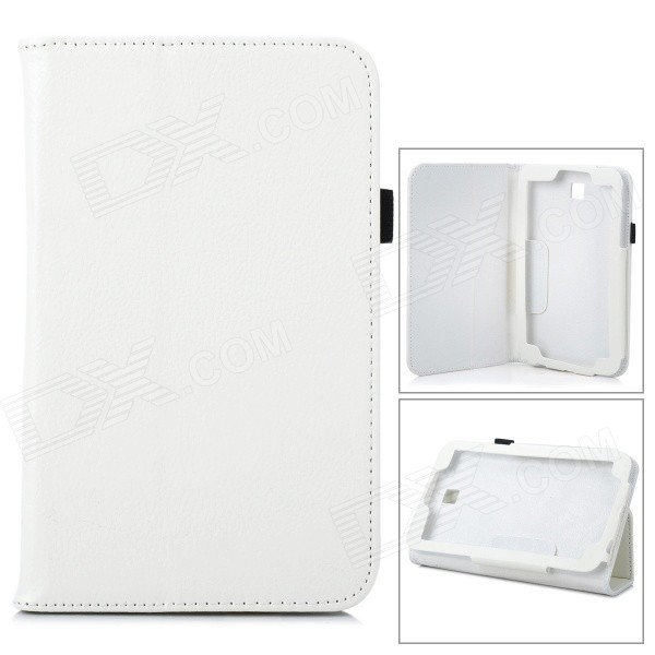 Protective Flip-Open PU Case Cover w/ Stand for 7 Samsung T110 Tablet PC - White protective flip open pu case w stand card slots for samsung galaxy s4 active i9295 black