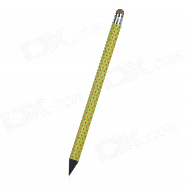 Polka Dot Pattern Capacitive Screen Stylus Touch Pen w/ Pencil for IPHONE / IPAD / IPOD - Green