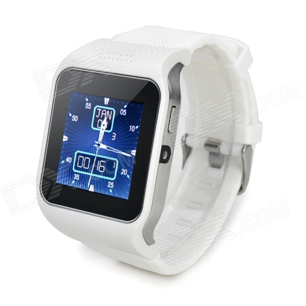 UPad2 TPU Band Bluetooth V3.0 1.5 Capacitive Screen Smart Watch w/ FM / Pedometer - White + Black