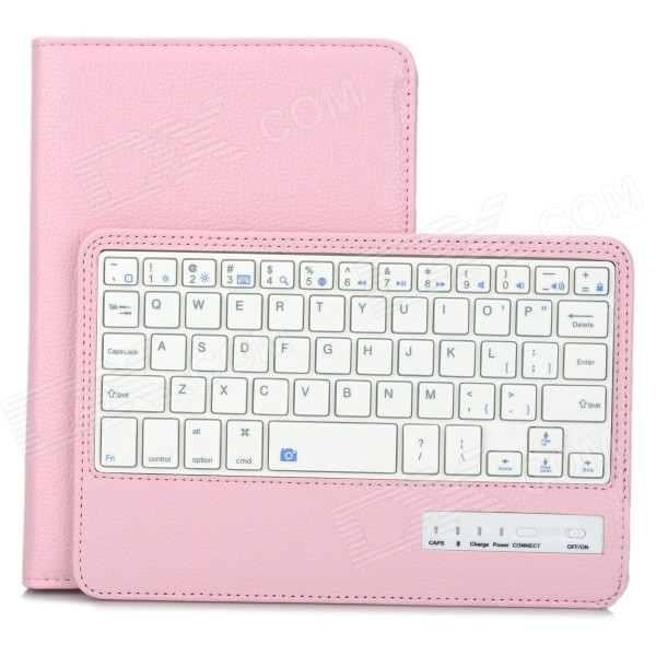 Detachable Bluetooth v3.0 59-Key Keyboard w/ PU Case for IPAD MINI 3 - Pink