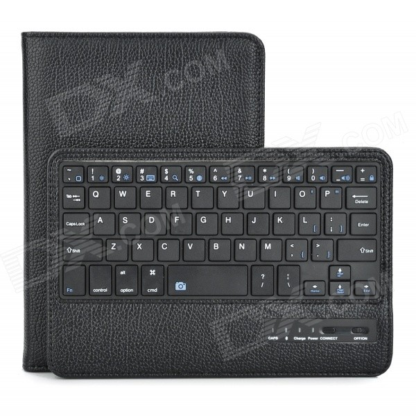 Detachable Bluetooth v3.0 59-Key Keyboard w/ PU Case for IPAD MINI 3 - Black 84 key bluetooth v3 0 keyboard w detachable pu case for ipad air green