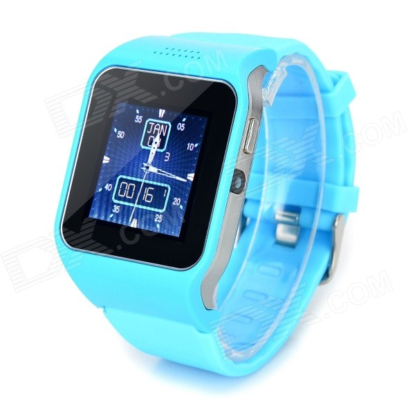UPad2 TPU Band Bluetooth V3.0 1.5 Capacitive Screen Smart Watch w/ FM / Alarm - Light Blue + Black solar battery powered butterfly random color