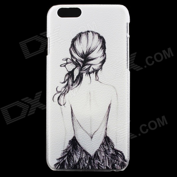 Girl Pattern Thin PC Protective Back Cover Case for 4.7 IPHONE 6 - White + Black girl playing guitar pattern protective back case for iphone 5 white black red