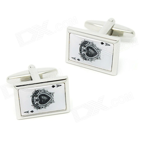 все цены на Spade Ace Pattern Electroplating Brass Cuff Links / Buttons - Silver + Black (Pair) онлайн