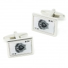 Spade Ace Pattern Electroplating Brass Cuff Links / Buttons - Silver + Black (Pair)