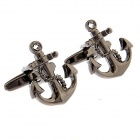Anchor Style Electroplating Brass Cuff Links - Dark Brown (Pair)