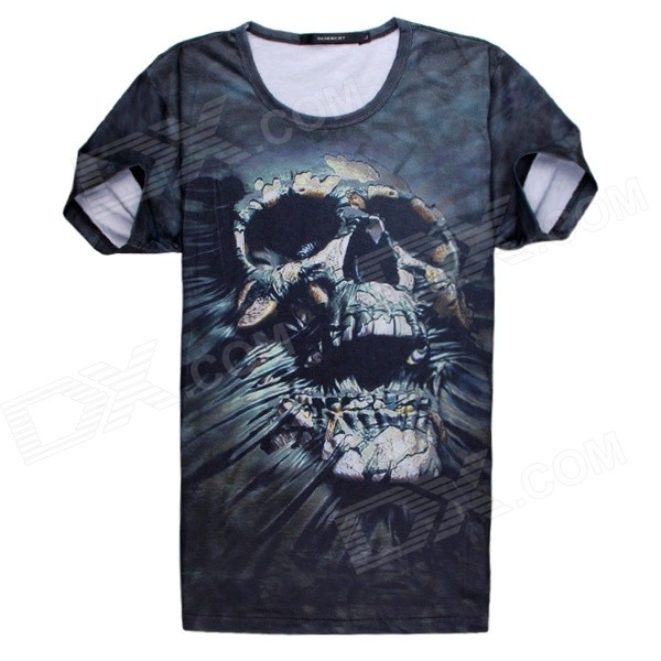 Men's Horrible Skeleton 3D Printing Short Sleeve Cotton T-shirt - Black + Multi-Color (M)