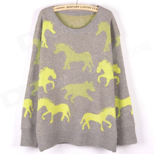 Cartoon Ponies Pattern Long Sleeve Loose Knit Sweater - Yellow + Gray