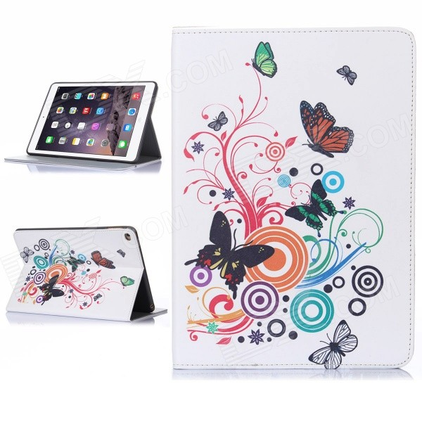 Hat-Prince Butterfly Pattern Flip Open PU Case w/ Stand / Card Slots / Auto Sleep for IPAD AIR 2 protective flip open pu case cover w stand card slots for ipad air 2 blue beige multicolor
