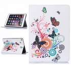 Hat-Prince Butterfly Pattern Flip Open PU Case w/ Stand / Card Slots / Auto Sleep for IPAD AIR 2