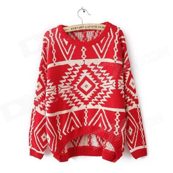 Plaid Pattern Asymmetric Loose Knit Sweater -Red