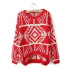 Plaid-Muster Asymmetrische lose Strickpullover -Red