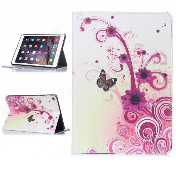 Hat-Prince Flower Pattern Flip Open PU Case w/ Stand / Card Slots / Auto Sleep for IPAD AIR 2 hat prince flower pattern flip open pu case w stand card slots auto sleep for ipad air 2