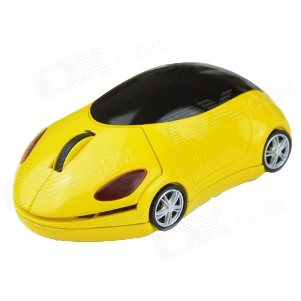 Mini Sports Car Style 2.4GHz Wireless Mouse - Yellow + Black