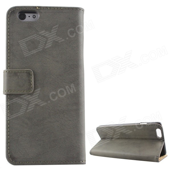 Protective PU Leather + PC Flip Open Case w/ Card Slots / Stand for IPHONE 6 PLUS - Deep Gray antelope pattern protective flip open pu leather case w stand card slots for iphone 6 plus