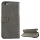 Protective PU Leather + PC Flip Open Case w/ Card Slots / Stand for IPHONE 6 PLUS - Deep Gray