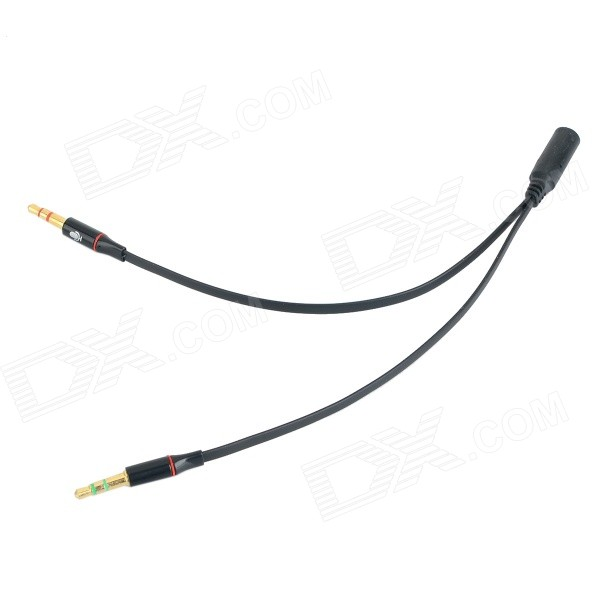 3.5mm Female to 2 x 3.5mm Male Audio / Video Cable for Laptop - Black (18cm) 3 5mm male female banana head av connector coppery 2 pairs