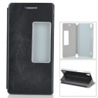 Protective PU Flip-Open Case w/ Stand for Huawei P7 - Black