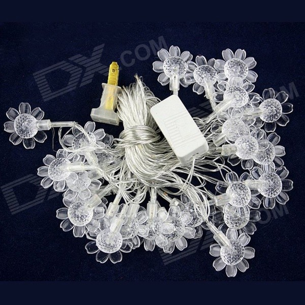15W 500lm 28-LED RGB Sunflower Shaped Christmas Decorative Lamp Light String (4M / 220V / US Plug)