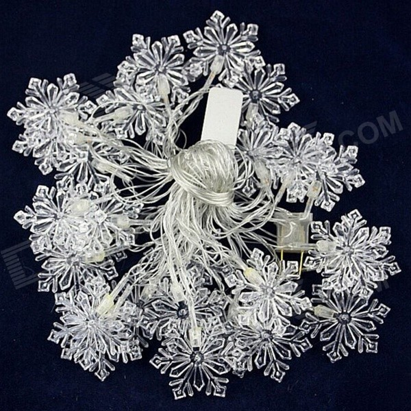 15W 500lm 28-LED RGB Snowflake Shaped Christmas Decorative Lamp Light String (4M / 220V / US Plug)